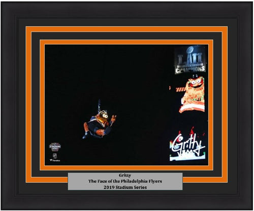 "Gritty 2019 Stadium Series Zipline Philadelphia Flyers 8"" x 10"" Framed Hockey Photo - Dynasty Sports & Framing"