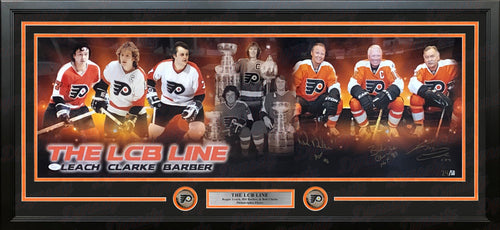 LCB Line (Bob Clarke, Bill Barber, Reggie Leach) Autographed Philadelphia Flyers Framed Panorama - Dynasty Sports & Framing