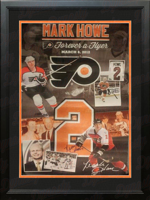 Mark Howe Autographed Framed Philadelphia Flyers Poster - Dynasty Sports & Framing