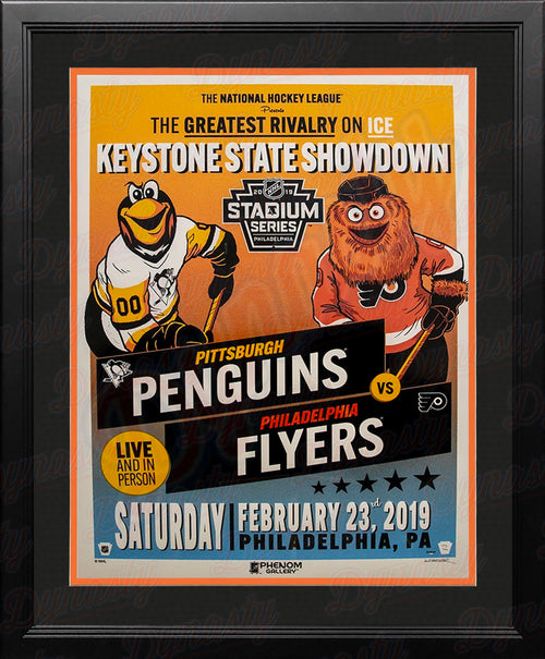 Philadelphia Flyers/Pittsburgh Penguins Official 2019 Hockey Stadium Series Framed and Matted Poster - Dynasty Sports & Framing