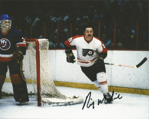 "Rick MacLeish in Action Philadelphia Flyers Autographed 8"" x 10"" Hockey Photo - Dynasty Sports & Framing"