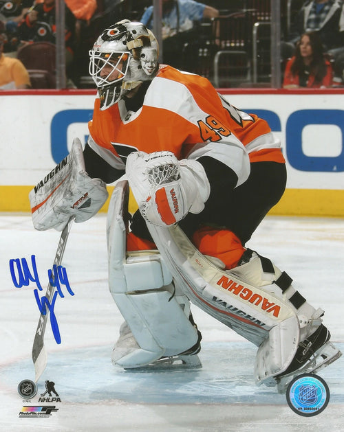 "Alex Lyon in Goal Philadelphia Flyers Autographed 16"" x 20"" Hockey Photo - Dynasty Sports & Framing"