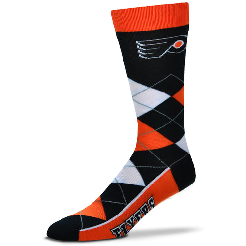 Philadelphia Flyers Men's NHL Hockey Argyle Lineup Socks - Dynasty Sports & Framing