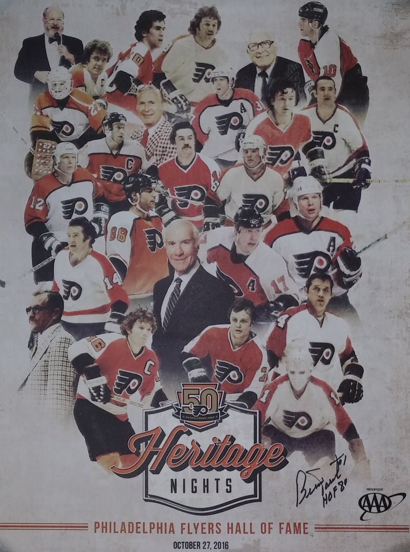 Bernie Parent Autographed 50th Anniversary Alumni Heritage Nights Philadelphia Flyers Poster - Dynasty Sports & Framing