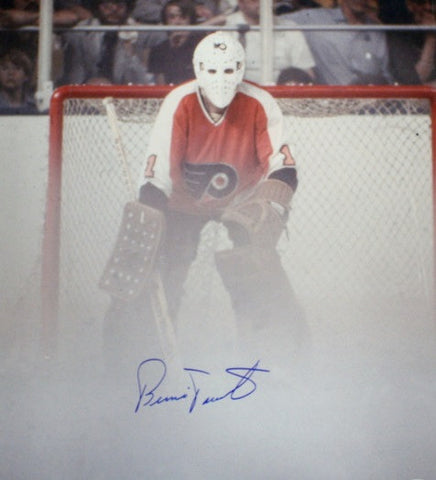 Bernie Parent Philadelphia Flyers Autographed Fog Game Photo - Dynasty Sports & Framing  - 1