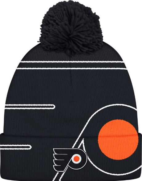 Philadelphia Flyers NHL Hockey Adidas Black Pom Logo Cuffed Knit Hat