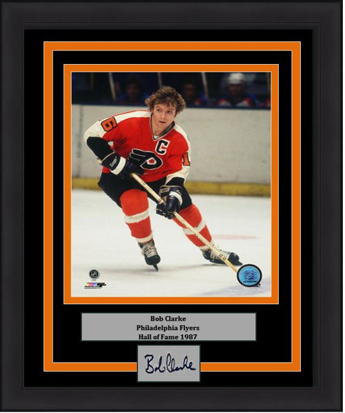 "Bob Clarke in Action Philadelphia Flyers 16"" x 20"" Framed Hockey Photo with Engraved Autograph - Dynasty Sports & Framing"