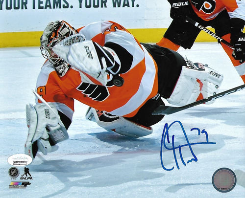 Carter Hart Philadelphia Flyers Diving Save vs. Canucks Autographed NHL Hockey Photo