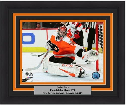 Carter Hart Philadelphia Flyers First Career Shutout NHL Hockey Framed and Matted Photo