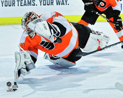 Carter Hart Philadelphia Flyers Save v. Canucks Hockey Photo - Dynasty Sports & Framing
