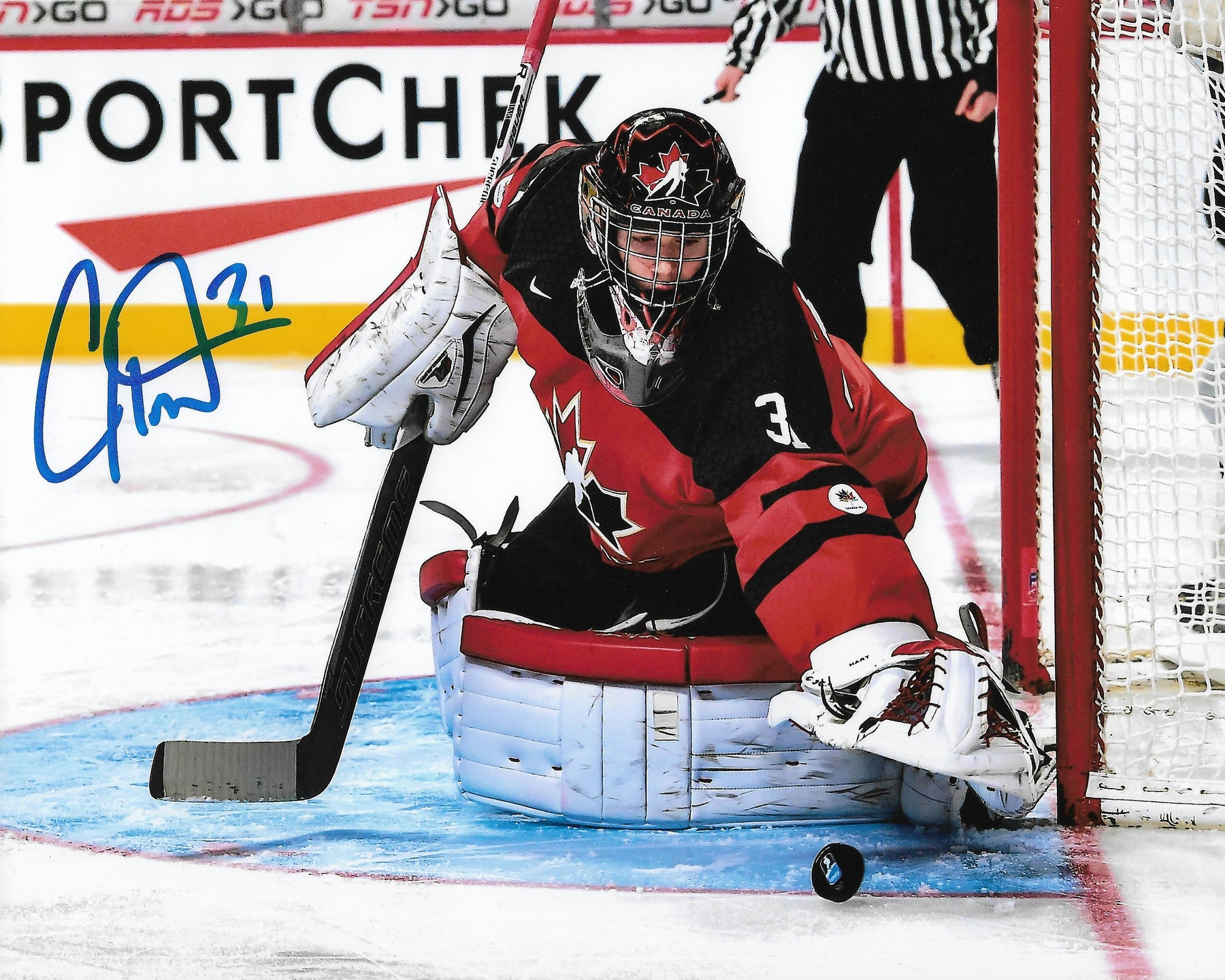 sale retailer 7215c 0ef9a Carter Hart Philadelphia Flyers In Goal for Team Canada Autographed NHL  Hockey Photo