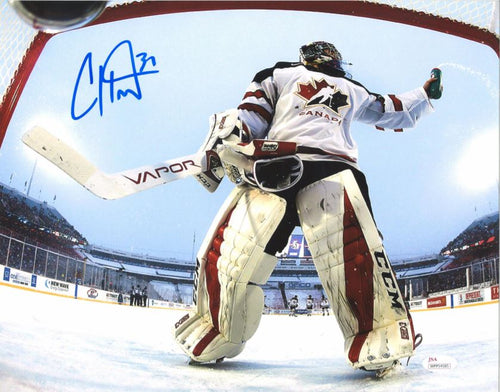 Philadelphia Flyers Carter Hart Team Canada Net Cam Autographed NHL Hockey Photo