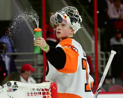 Carter Hart Philadelphia Flyers Water Bottle Hockey Photo - Dynasty Sports & Framing
