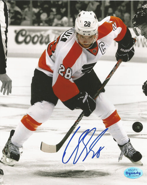 "Philadelphia Flyers Claude Giroux Spotlight Face-Off v. Sidney Crosby Autographed NHL Hockey 16"" x 20"" Photo - Dynasty Sports & Framing"