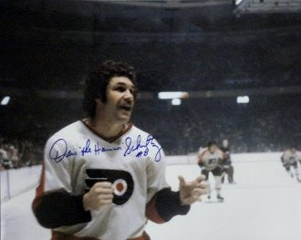 "Philadelphia Flyers Dave Schultz Autographed  NHL Hockey 16"" x 20"" Photo with 'The Hammer' Inscription - Dynasty Sports & Framing"