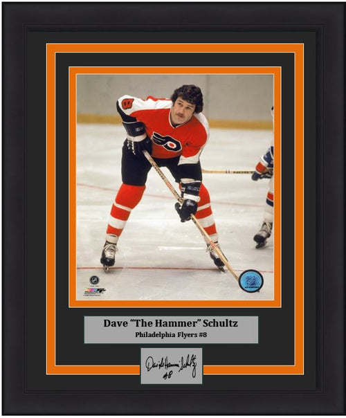 "Philadelphia Flyers Dave Schultz Skating NHL Hockey Engraved Autograph 8"" x 10"" Framed & Matted Photo (Dynasty Signature Collection) - Dynasty Sports & Framing"