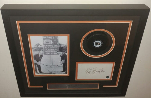 Philadelphia Flyers Ed Snider Framed Autographed Card Collage with Puck