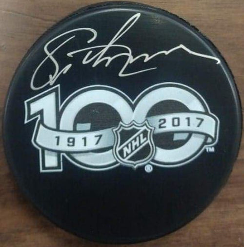 Philadelphia Flyers Eric Lindros Autographed NHL 100th Anniversary Logo Puck