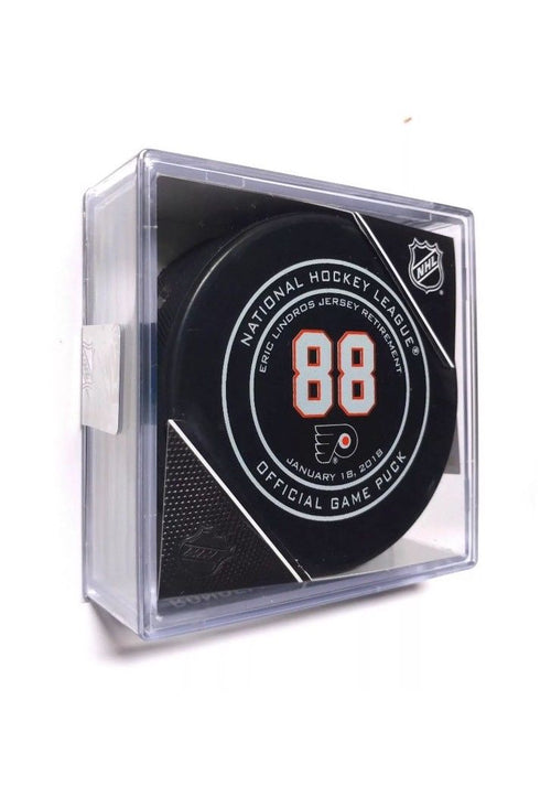 Philadelphia Flyers Eric Lindros #88 Jersey Retirement Official Game Model Logo Puck - Dynasty Sports & Framing