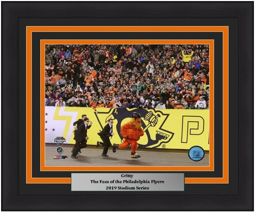 "Gritty Philadelphia Flyers Streaking at the 2019 Stadium Series NHL Hockey 8"" x 10"" Framed and Matted Mascot Photo"