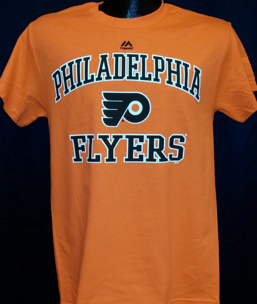 Philadelphia Flyers Majestic Orange Heart and Soul T-Shirt - Dynasty Sports & Framing