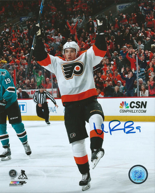 Philadelphia Flyers Ivan Provorov Celebration Autographed NHL Hockey Photo