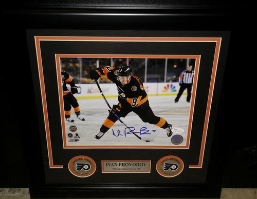 Philadelphia Flyers Ivan Provorov Stadium Series Autographed NHL Hockey Framed and Matted Photo
