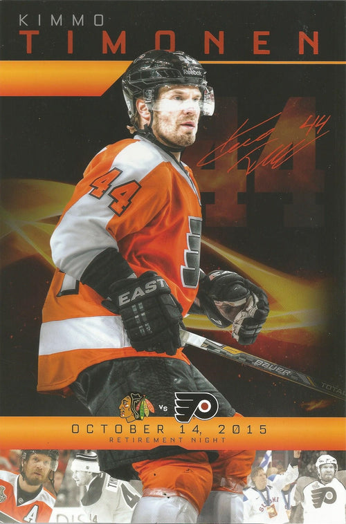 Kimmo Timonen 2015 Philadelphia Flyers Hockey Retirement Night Card - Dynasty Sports & Framing