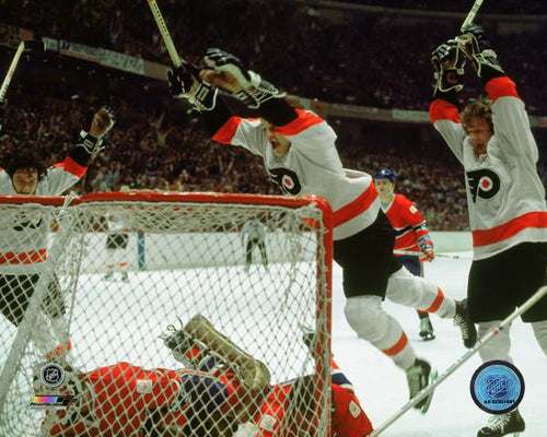 Philadelphia Flyers LCB Line (Bob Clarke, Bill Barber, Reggie Leach) Goal Celebration NHL Hockey Photo