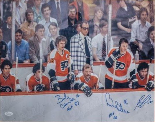 "Philadelphia Flyers LCB Line (Bob Clarke, Bill Barber, Reggie Leach) Bench Autographed NHL Hockey 16"" x 20"" Photo"