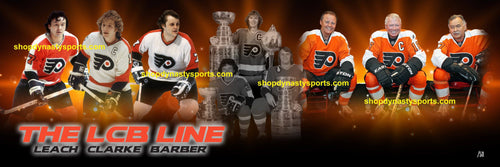 Philadelphia Flyers LCB Line (Bob Clarke, Bill Barber, Reggie Leach) Dynasty Sports Exclusive Panorama Limited to 50
