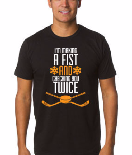 Philadelphia Flyers NHL Hockey Making a Fist, Checking You Twice Holiday T-Shirt (Dynasty Sports Exclusive) - Dynasty Sports & Framing
