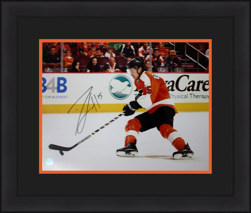 "Philadelphia Flyers Michael Del Zotto Autographed NHL Hockey 16"" x 20"" Framed and Matted Photo - Dynasty Sports & Framing"
