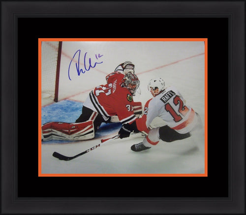 Philadelphia Flyers Michael Raffl v. Blackhawks Autographed NHL Hockey Framed and Matted Photo - Dynasty Sports & Framing