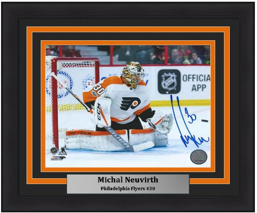 Michal Neuvirth Save Autographed Philadelphia Flyers Framed Hockey Photo - Dynasty Sports & Framing