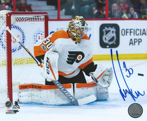 Philadelphia Flyers Michal Neuvirth Save Autographed NHL Hockey Photo - Dynasty Sports & Framing