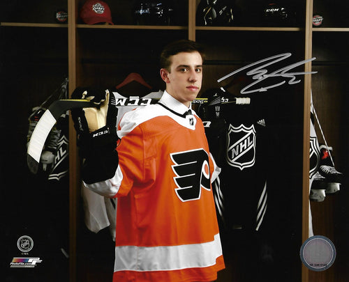 Morgan Frost Locker Room Autographed Philadelphia Flyers Hockey Photo - Dynasty Sports & Framing