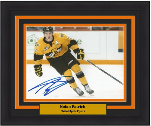 "Nolan Patrick Wheat Kings in Action Philadelphia Flyers Autographed 8"" x 10"" Framed and Matted Photo"
