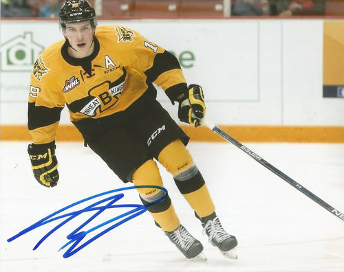 "Nolan Patrick Wheat Kings in Action Philadelphia Flyers Autographed 8"" x 10"" Photo"