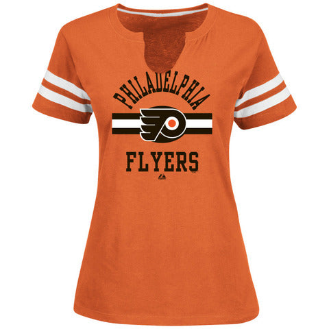 Philadelphia Flyers NHL Hockey Orange Line Change Split Neck Womens T-Shirt