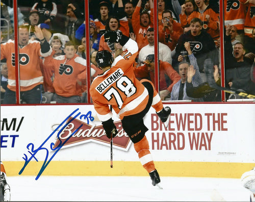 Philadelphia Flyers Pierre-Édouard Bellemare Celebration Autographed NHL Hockey Photo - Dynasty Sports & Framing