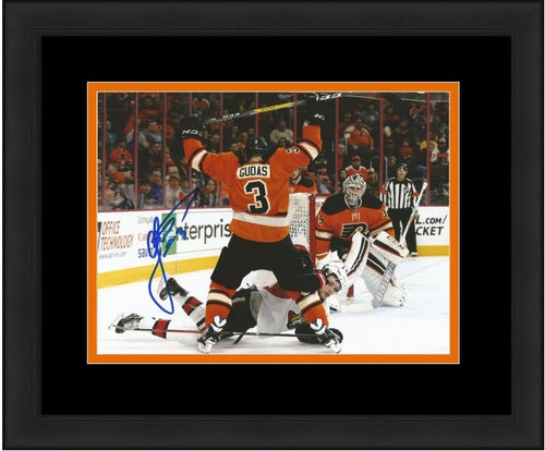 Radko Gudas Philadelphia Flyers Autographed Check Framed and Matted Photo - Dynasty Sports & Framing