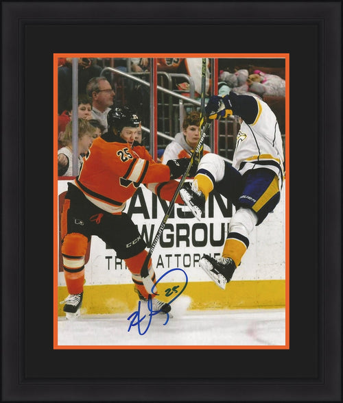 "Philadelphia Flyers Ryan White Check Autographed NHL Hockey 11"" x 14"" Framed and Matted Photo - Dynasty Sports & Framing"