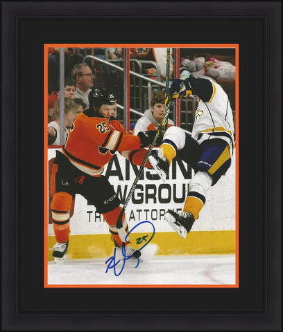 "Ryan White Autographed Philadelphia Flyers Check 11"" x 14"" Framed and Matted Photo - Dynasty Sports & Framing"