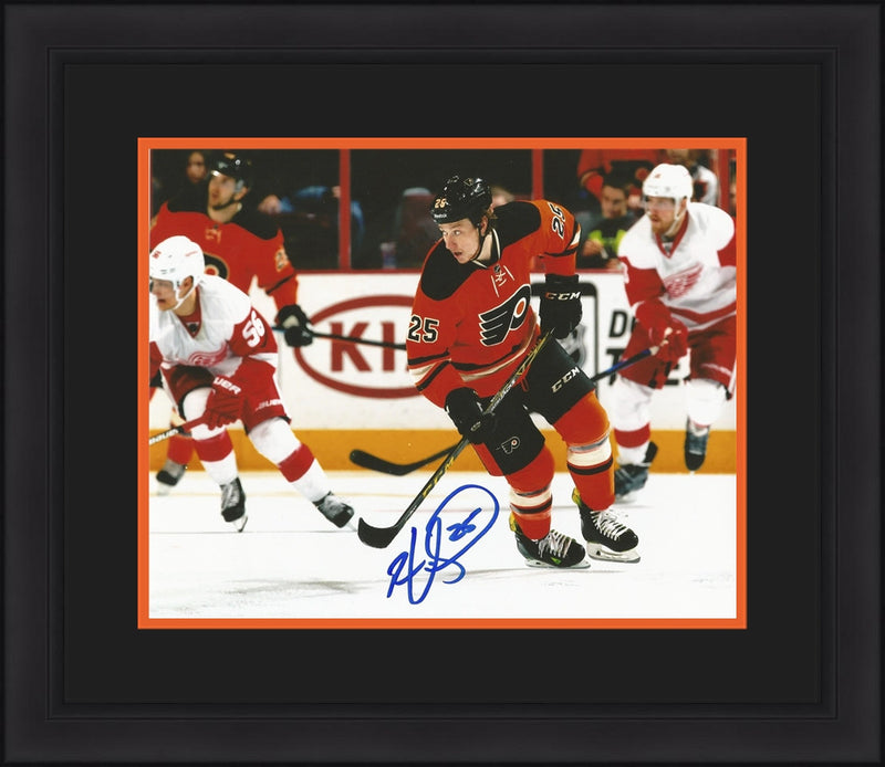Philadelphia Flyers Ryan White Skating Autographed NHL Hockey Framed and Matted Photo - Dynasty Sports & Framing