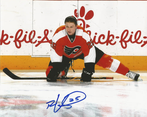 Philadelphia Flyers Ryan White Stretching Autographed NHL Hockey Photo - Dynasty Sports & Framing