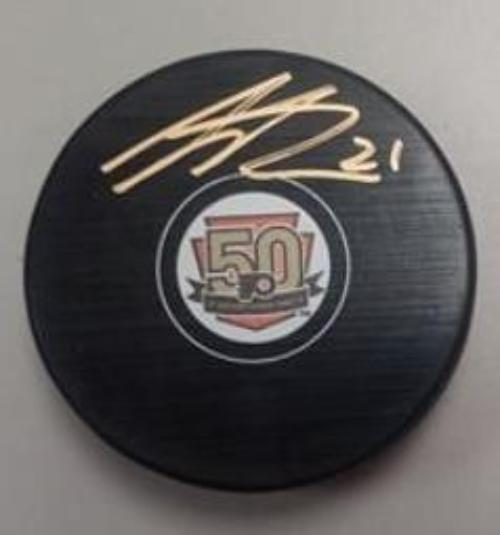 Philadelphia Flyers Scott Laughton Autographed NHL Hockey 50th Anniversary Logo Puck