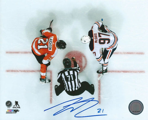 Philadelphia Flyers Scott Laughton Faceoff Autographed NHL Hockey Photo - Dynasty Sports & Framing