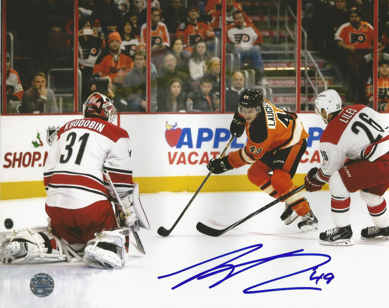 Philadelphia Flyers Scott Laughton Autographed First NHL Goal Hockey Photo - Dynasty Sports & Framing