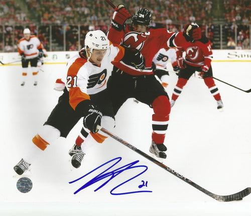 "Philadelphia Flyers Scott Laughton v. Devils Autographed NHL Hockey 11"" x 14"" Photo - Dynasty Sports & Framing"